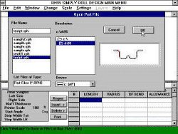 Screenshot of SIMPLY Roll Design software showing a microsoft windows dialog box